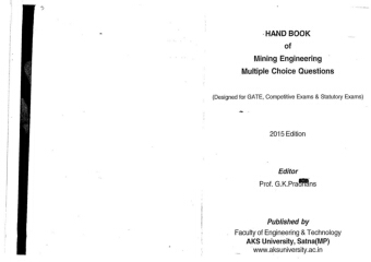 Hand Book of Mining Engineering Multiple choice questions by Prof G K Pradhans